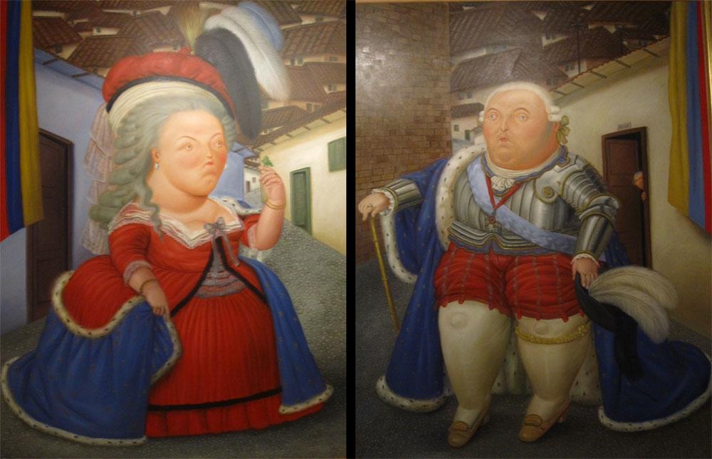 Visite de Louis XVI et Marie-Antoinette à Medellin, 1990 - Huile sur toile