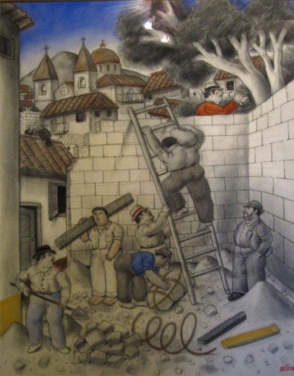 Les ouvriers, 1994 - Aquarelle, fusain et pastel sur toile