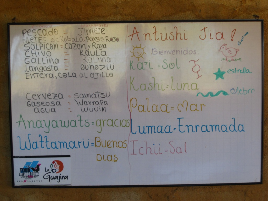 Punta Gallinas, vocabulaire Wayuu