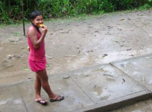 Une mangue sous la pluie