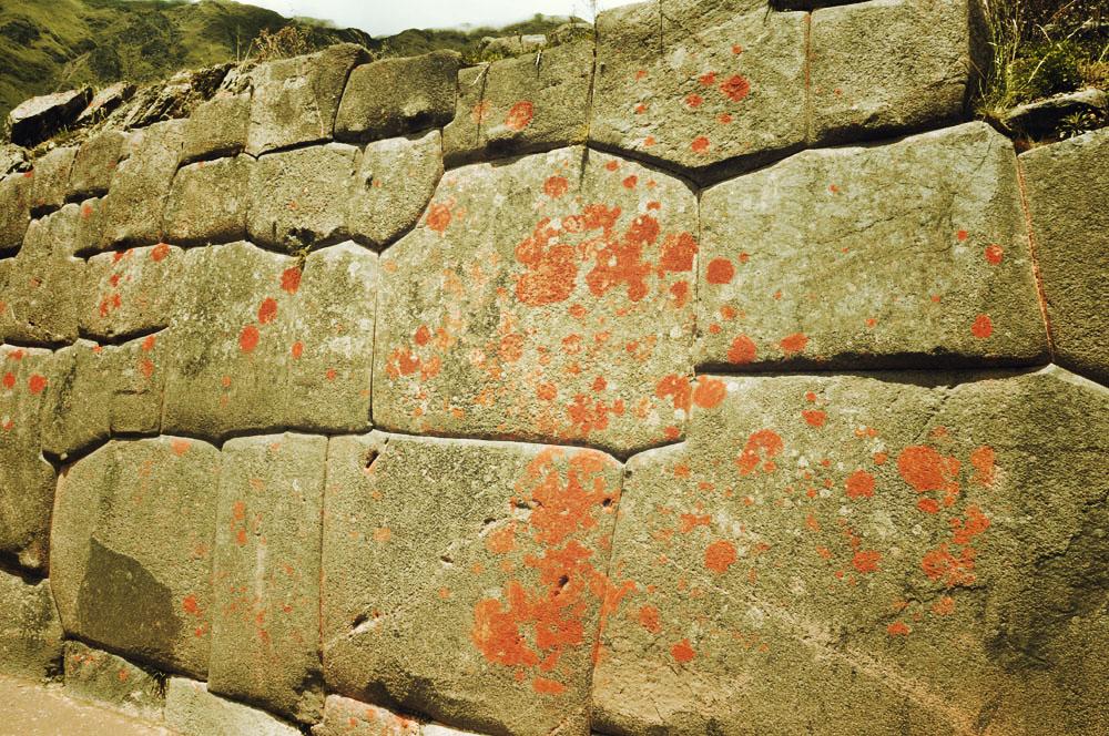 Ollantaytambo, blocs avec de la mousse
