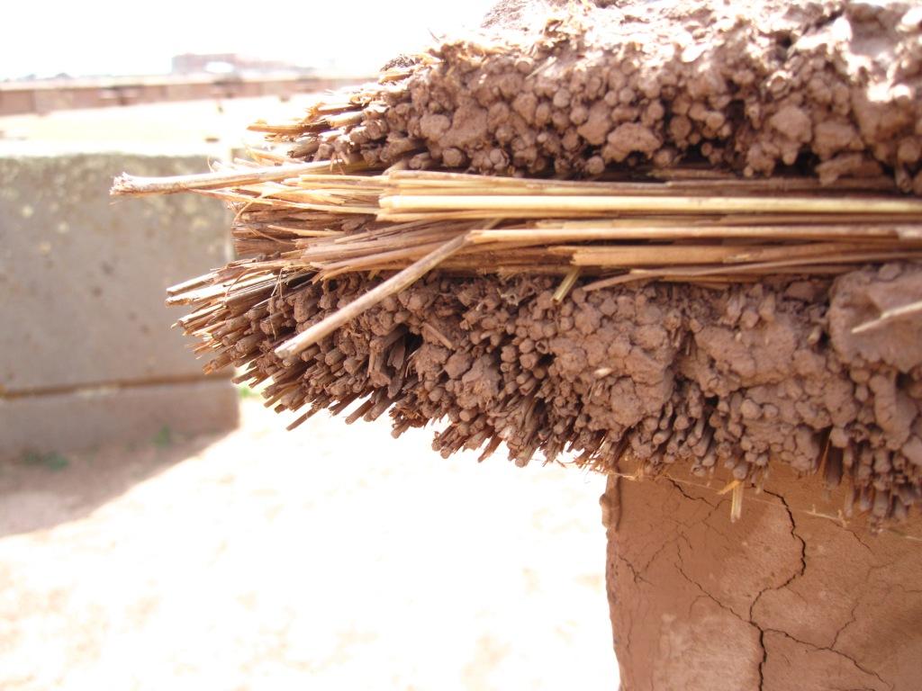 Détail de mur en adobe (boue et paille)