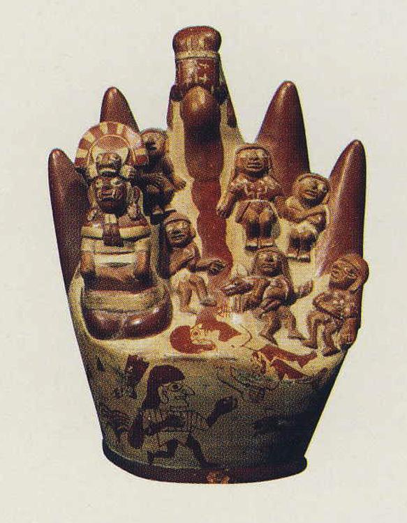 Céramique représentant le Cerro Blanco (musée de la Huaca de la Luna)
