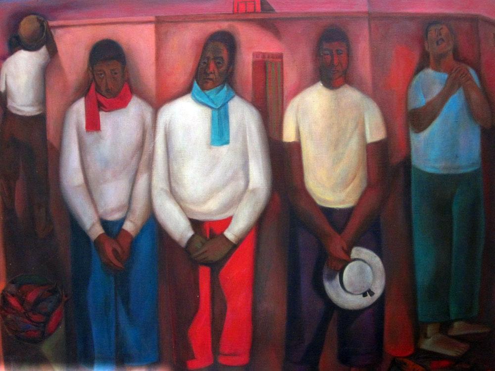 "MAM Trujillo : ""Esperando la paga"" (Angel Chavez) 85cm x 1m"